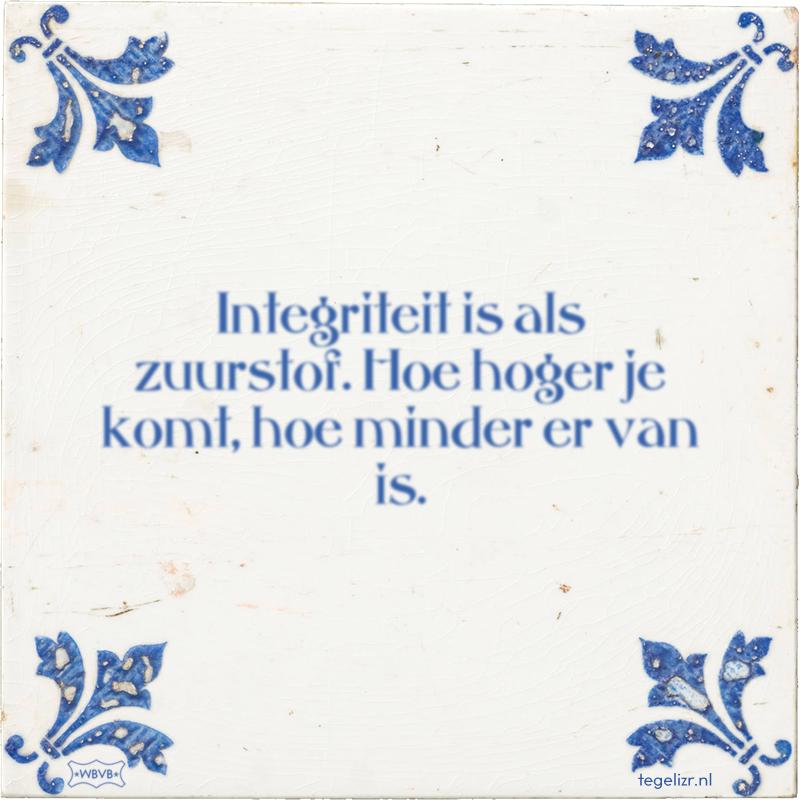 Integriteit is als zuurstof. Hoe hoger je komt, hoe minder er van is. - Online tegeltjes bakken